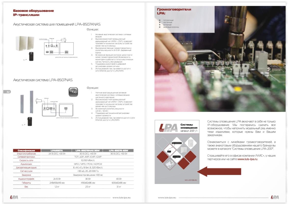 "LU.IS+. Верстка технического каталога ""IP-системы оповещения"""